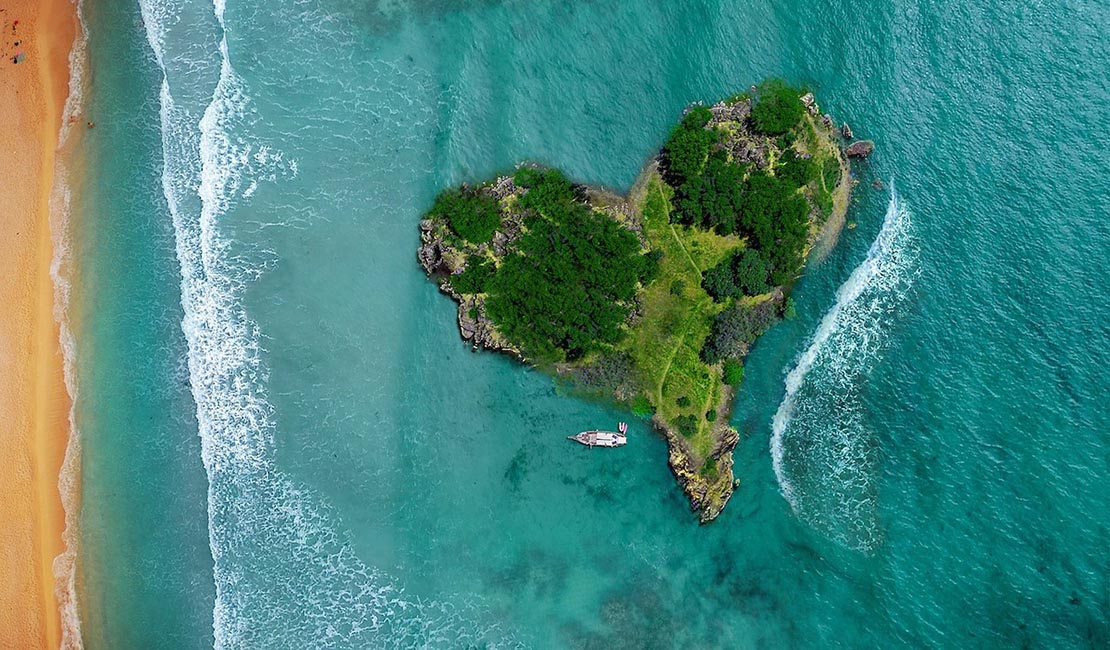 Heart-shaped island from above