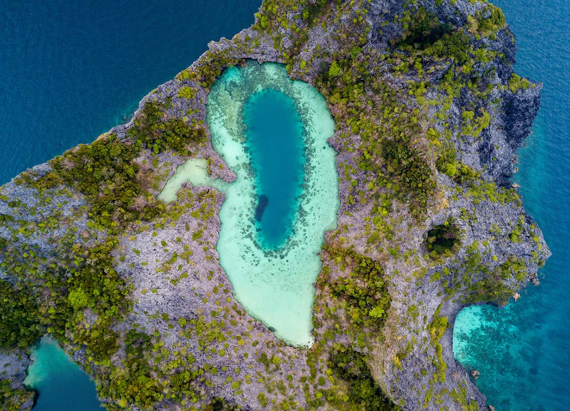 Aerial picture of a lagoon