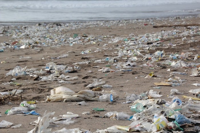 Litter strewn beaches from careless rubbish disposal