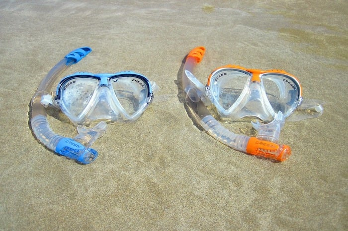Clear silicone mask and snorkel set
