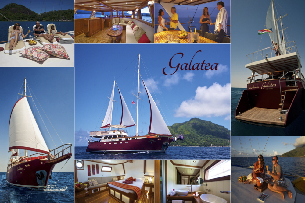 Collage of MV Galatea Seychelles